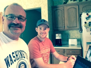Epic Father-Son project: Dual laptops in the kitchen, setting up Dad's blog!